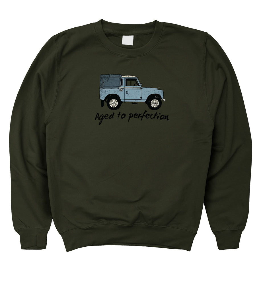 Mens Aged to Perfection Land Rover Fathers Day Birthday Sweatshirt S - 5XL
