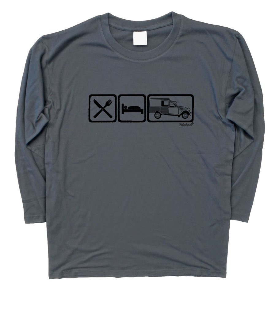 Mens Eat Sleep Citroen 2CV Fourgonnette Van Long Sleeve T-Shirt S - 3XL