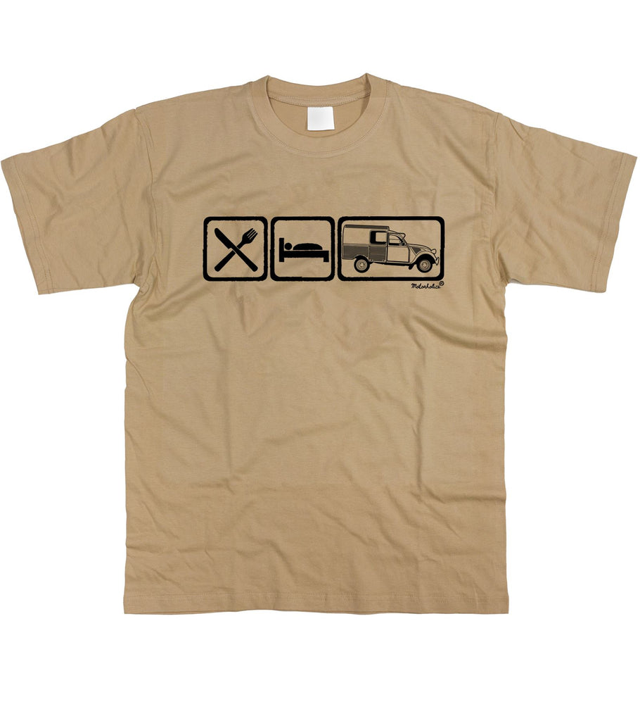 Mens Eat Sleep Citroen 2CV Fourgonnette Van T-Shirt S - 5XL