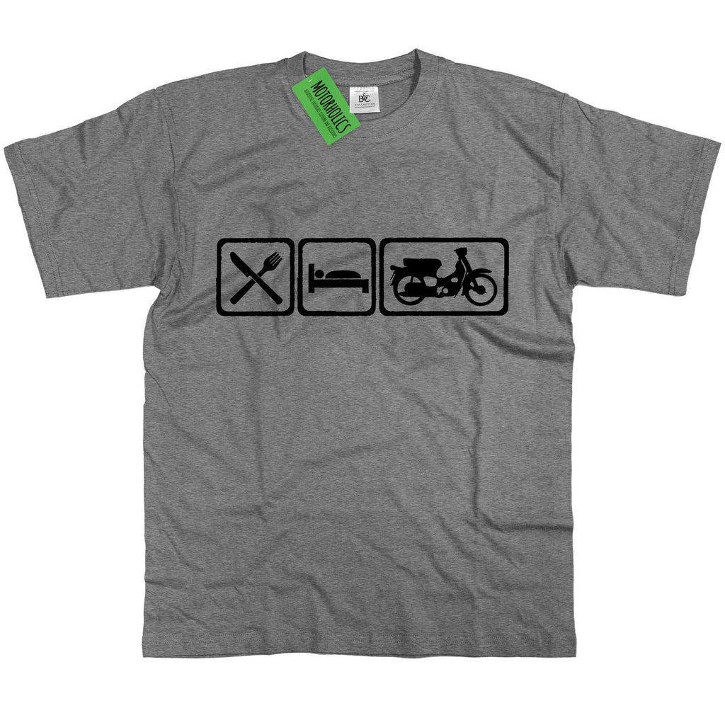 Mens Eat Sleep Honda Cub 50 Scooter T Shirt ~ Classic Retro Bike JDM Chic - Motorholics