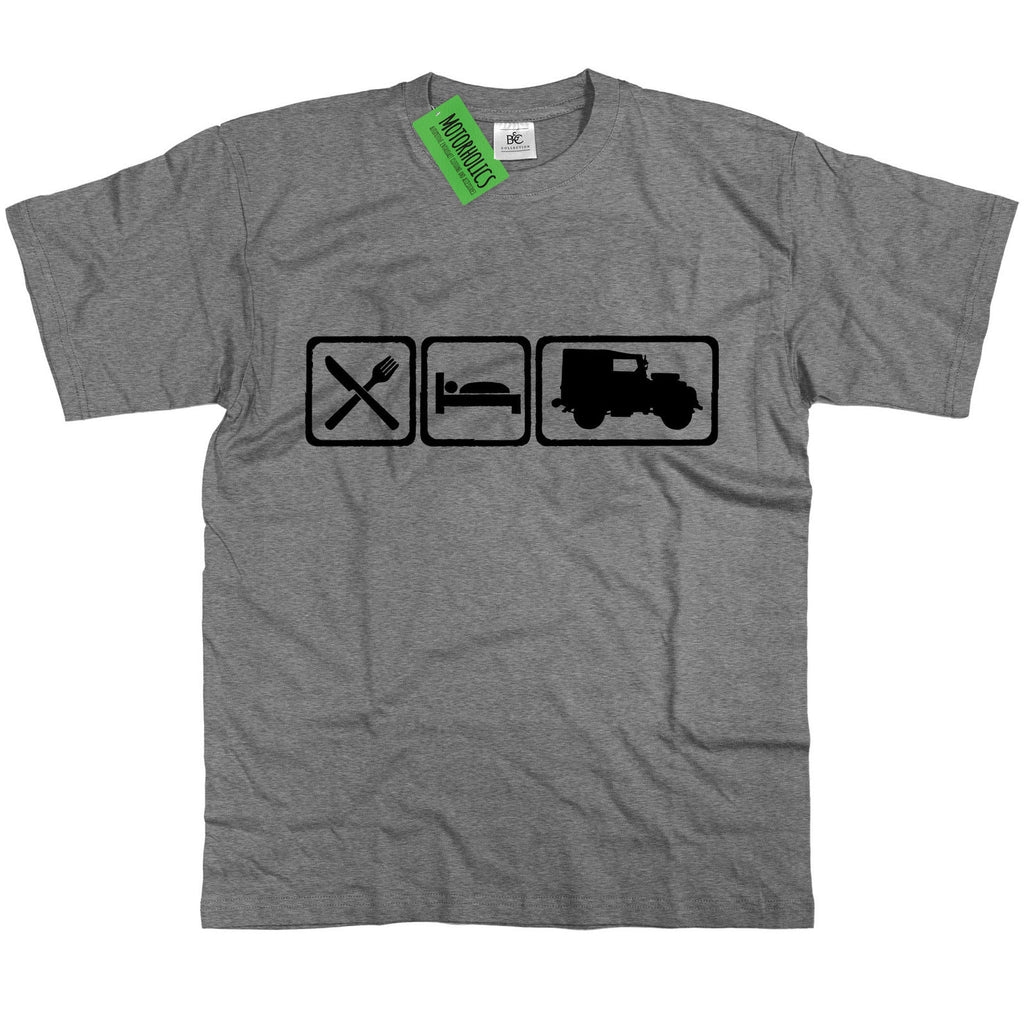 Mens Eat Sleep Land Rover Series 1 One Vintage Classic 4x4 Off Roader T Shirt