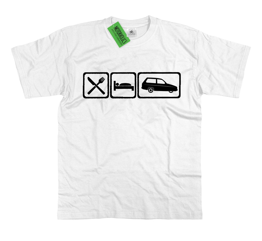 Mens Eat Sleep Reliant Robin T Shirt ~ Retro 3 Wheeler Funny Gift Classic Car