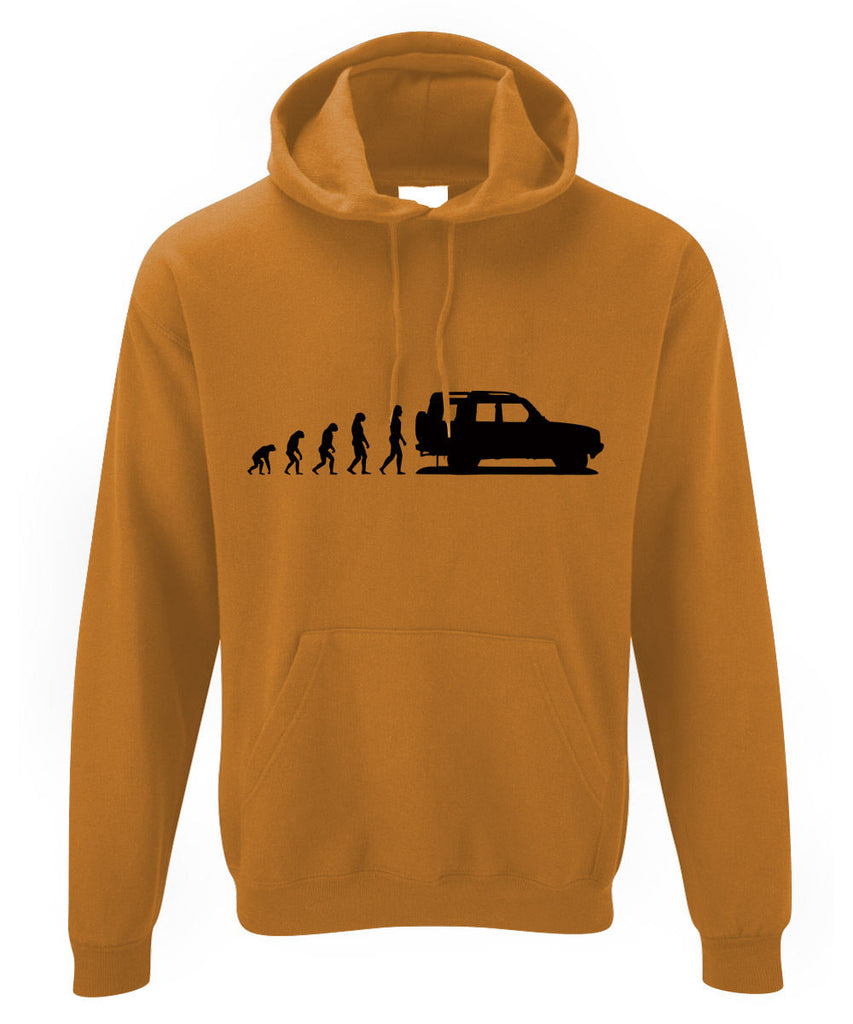 Mens Evolution of Ape to Land Rover Discovery 1 Hoodie Landrover Classic