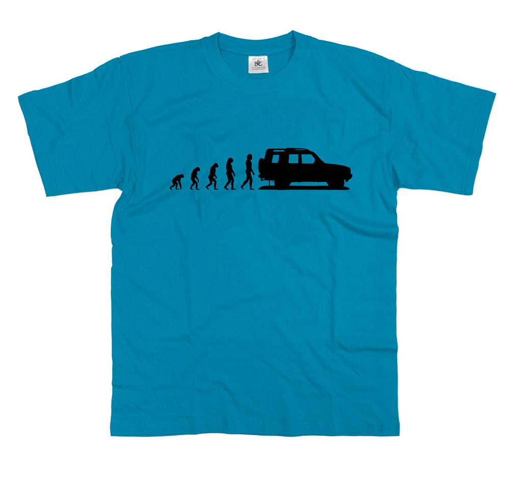 Mens Evolution of Ape to Land Rover Discovery T Shirt Disco Off Road landrover