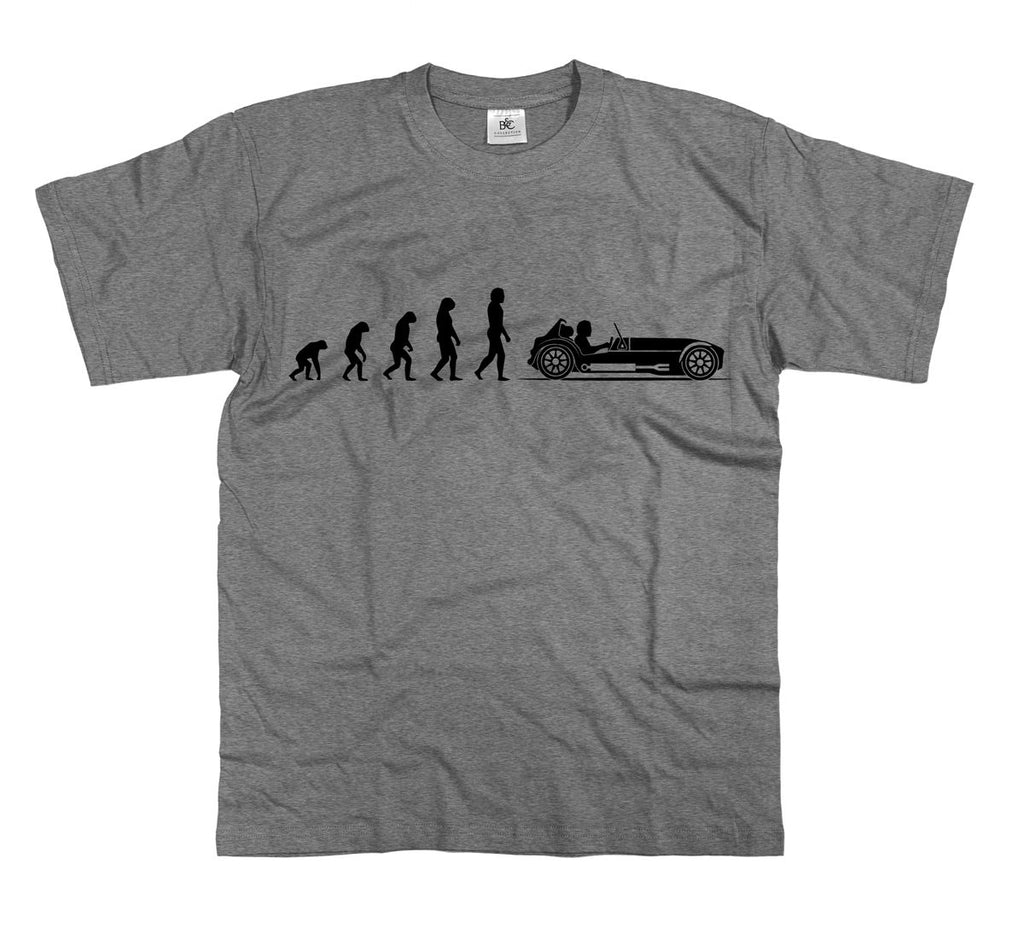 Mens Evolution of Ape to Lotus 7 T Shirt Caterham Seven Tiger Westfield Super
