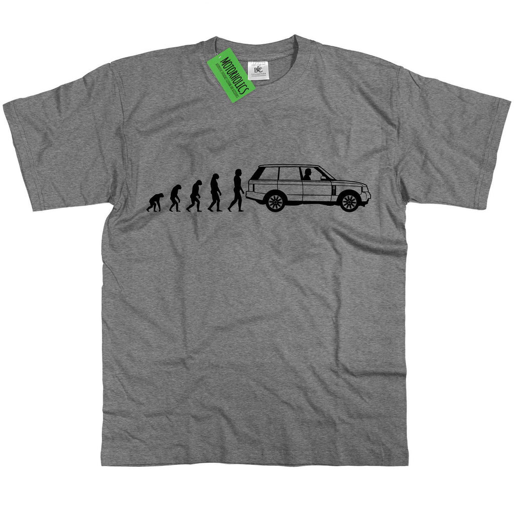 Mens Evolution of Ape to Range Rover L322 T Shirt ~ Retro Off Road Landrover