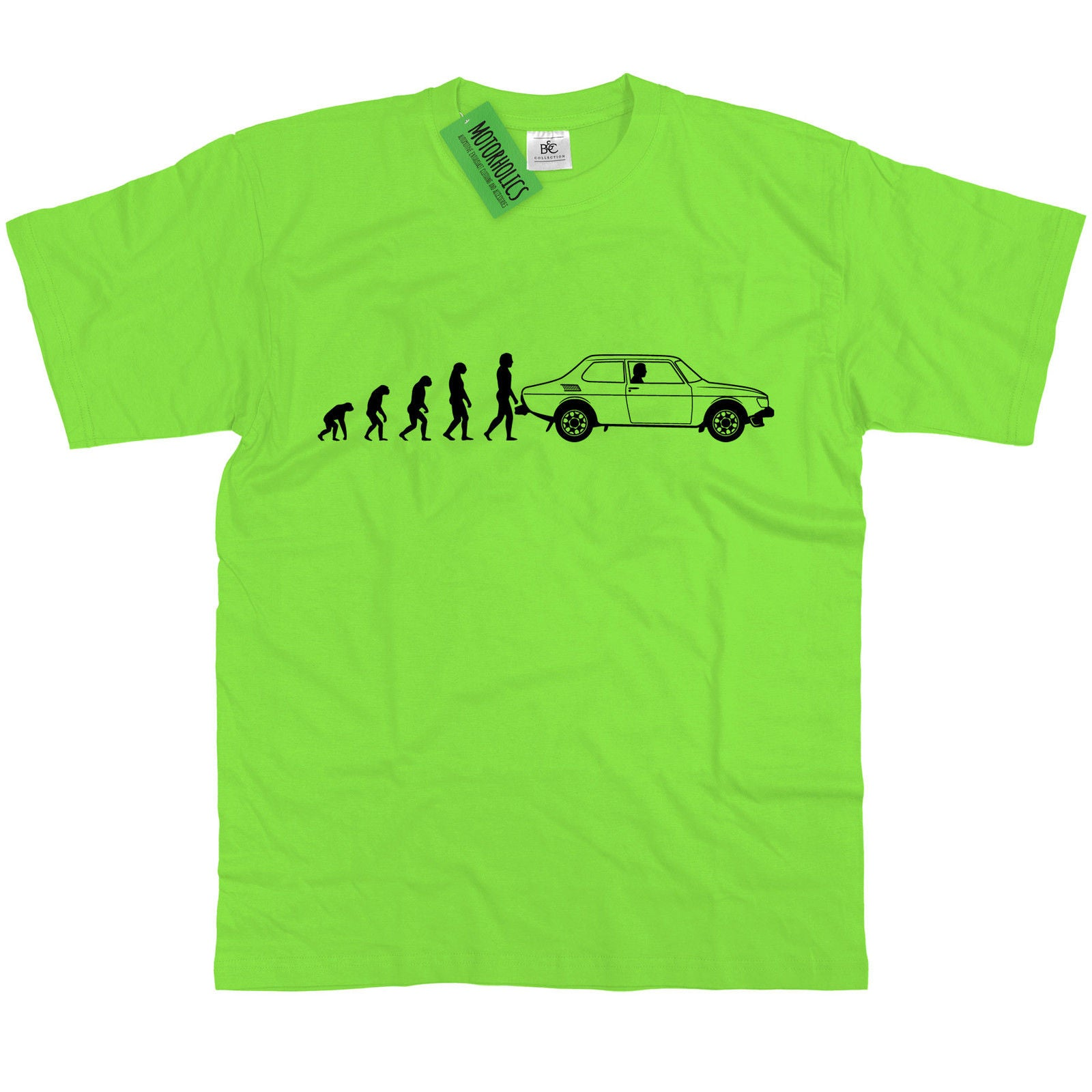 Mens Evolution Of Ape To Saab 99 T Shirt Swedish Rally Legend