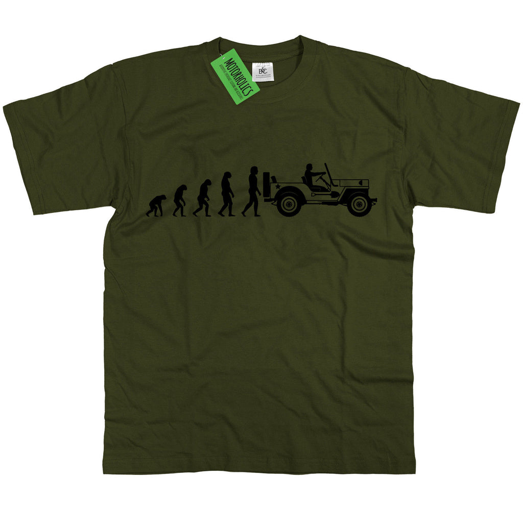 Mens Evolution of Ape to Willys Jeep T Shirt