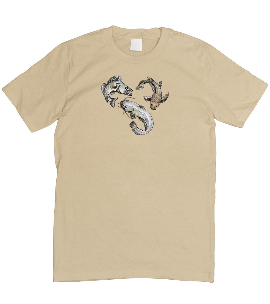 Mens Fishing Carp Pike Drawing Love Fathers Day T-Shirt S - 5XL