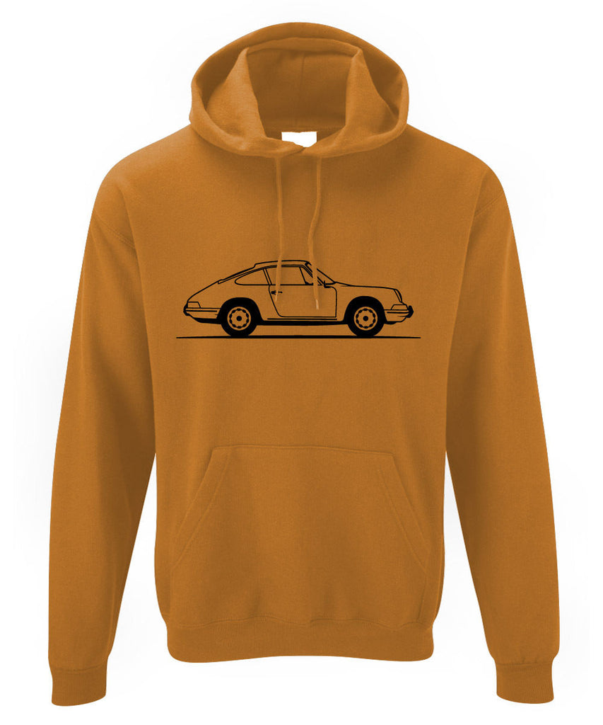 Mens Original Sketch Porsche 911 Classic Hoodie ~ Retro German Sports Car