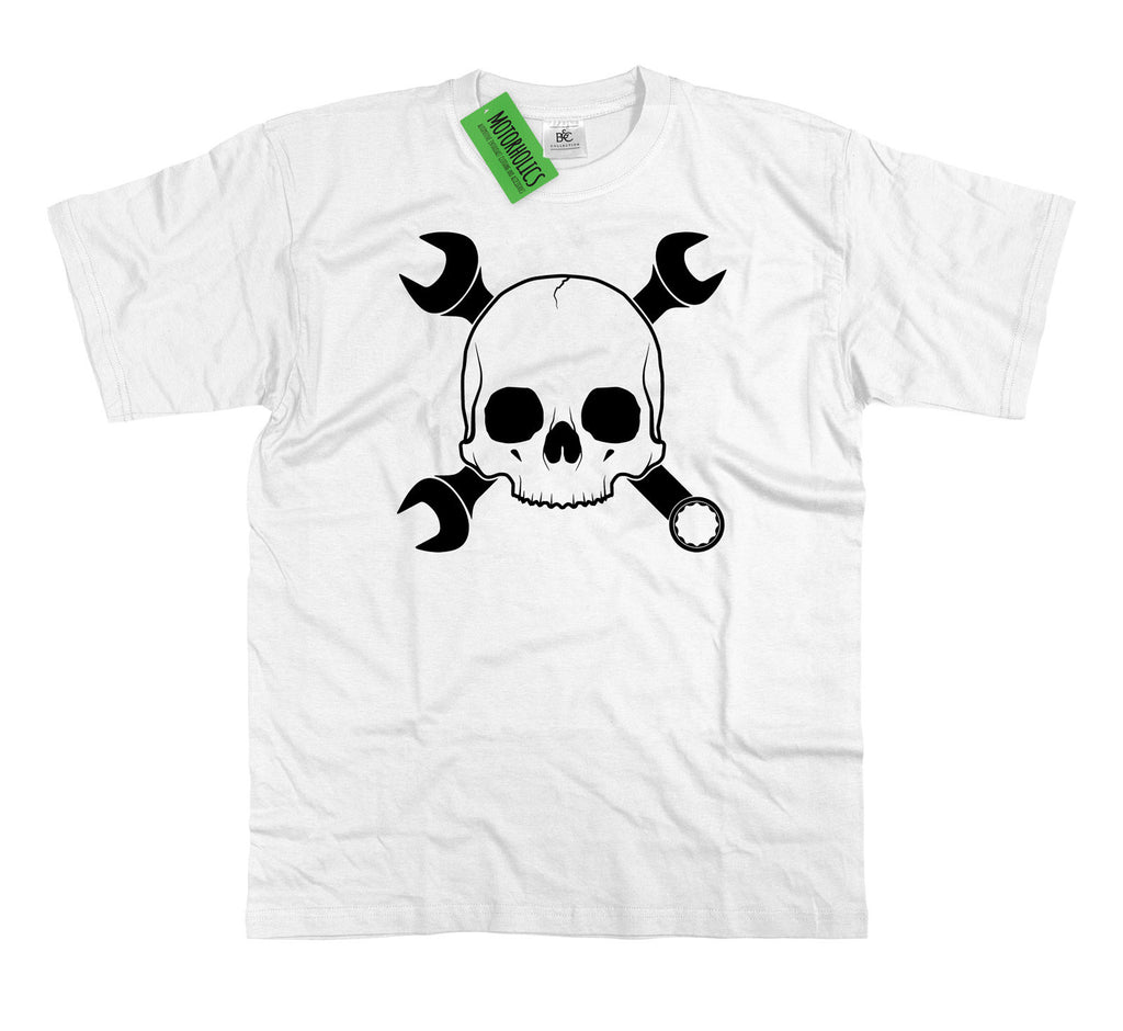 "Mens "" Skull and Crossed Spanners "" T Shirt - Motorcycle Racing Isle of Man TT"