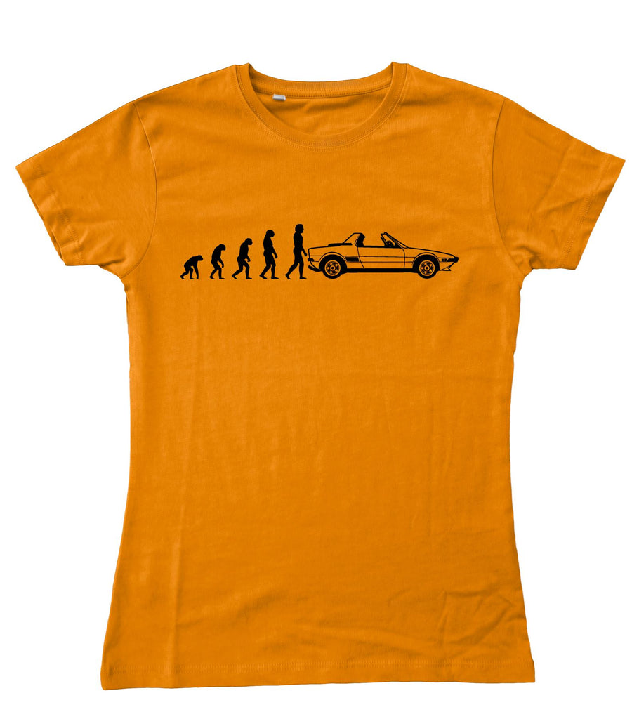 Motorholics Ladies Evolution of Man to FIAT X19 Fitted T-Shirt S - 2XL / 10 - 18