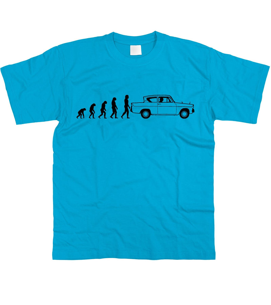 Motorholics Mens Evolution of Man to Ford Anglia T-Shirt S - 5XL