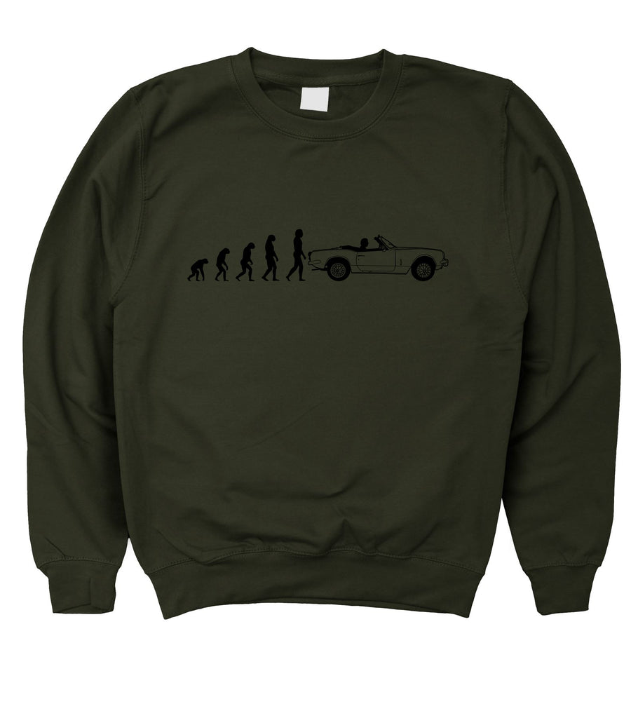 Motorholics Mens Evolution of Man to Triumph Spitfire Sweatshirt S - 5XL