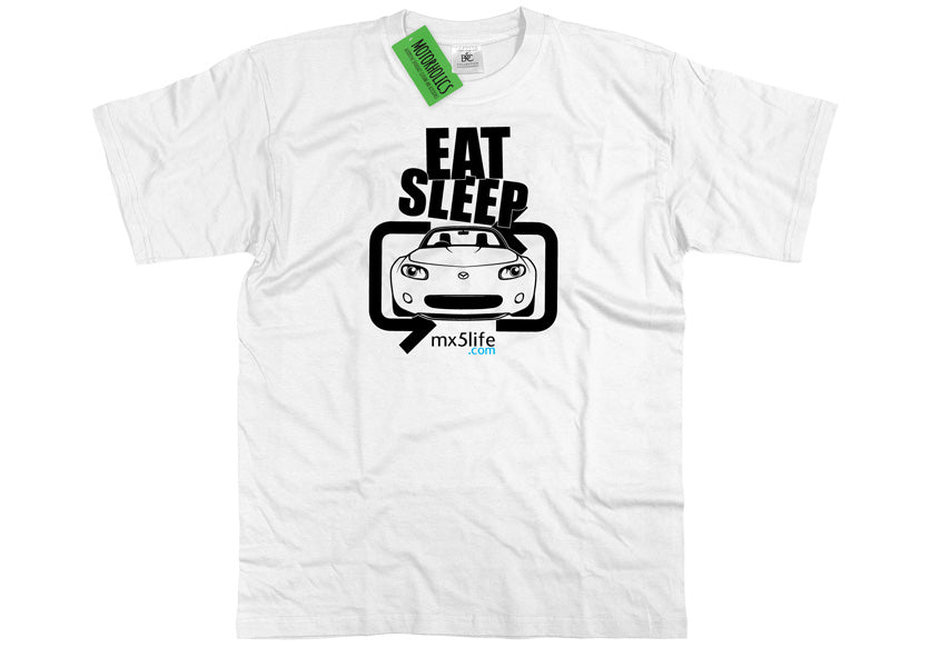 Motorholics Mx5life.com Eat Sleep Mk3 Mazda MX5 T Shirt - WHITE
