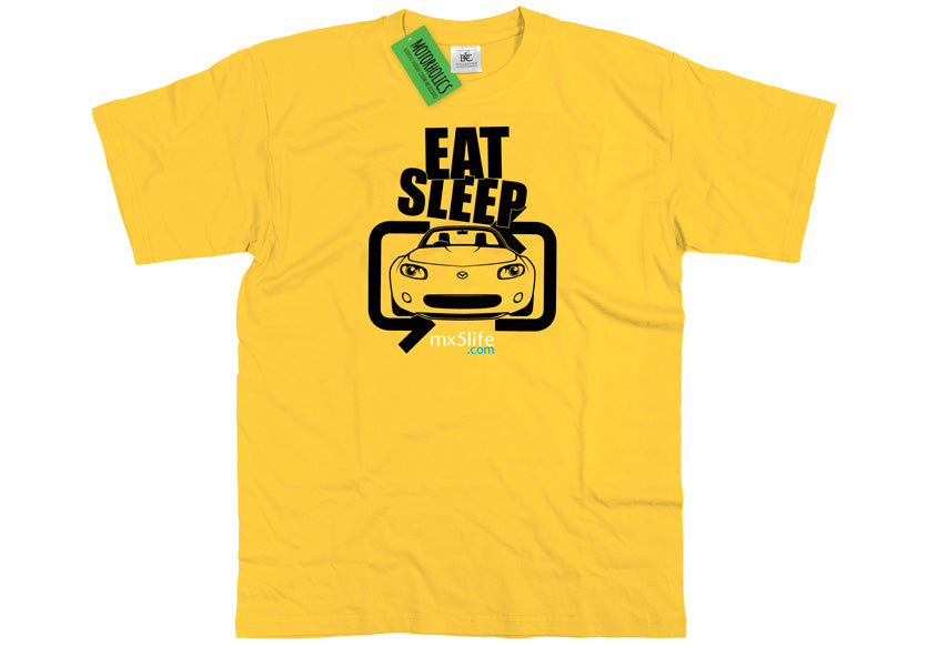 Motorholics Mx5life.com Eat Sleep Mk3 Mazda MX5 T Shirt - YELLOW