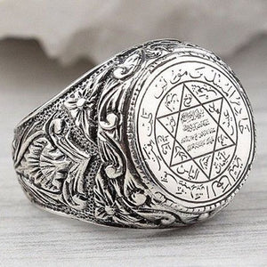 Vintage Punk Championship Rings Men Hip Hop Antique Silver Carved Pattern Finger Ring Gothic Retro Masculine Jewelry O3X807