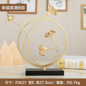 Lovebirds ornament Wedding gifts Creative Nordic style Lotus branch leopard leaf Fine copper with black crystal base Home decor