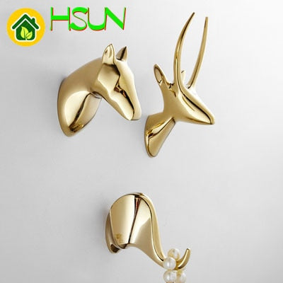 Pure Copper Animal Hook Brass Originality Antler Punch Clothes Hook Deer Elephant Horse Gold Black White Hallway Wall Coat Hook