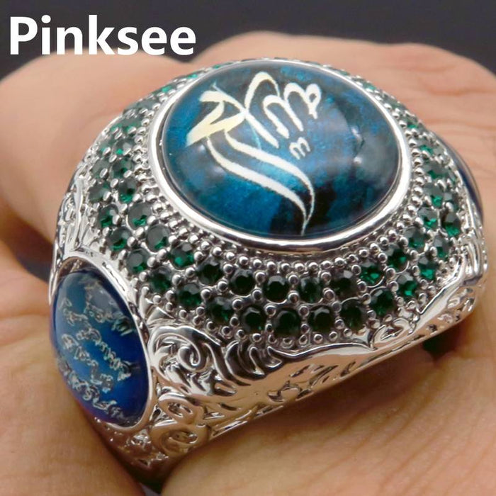 2019 Hot Championship Rings High Quality Cool Punk Style Big Round Stone Ring Men Silver P Carved Rings Gifts For Boys Sz 7-10