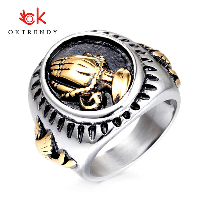Oktrendy Hand of God Ring Championship Rings Men Punk 316L Stainless Steel Rings Unique Mans Style