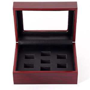 7 hole Wooden Champion Ring Box Baseball Football and Basketball Man Championship Ring Display Box