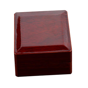 Championship Ring Collection Box Wine Red Natural Wood Single Hole Travel Case Sports Lover Ring Storage