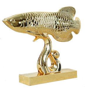Creative Gold Arowana Ornaments Crafts Home Living Room TV Cabinet Decor Wedding Gift Metal Lucky Goldfish Miniature Furnishings