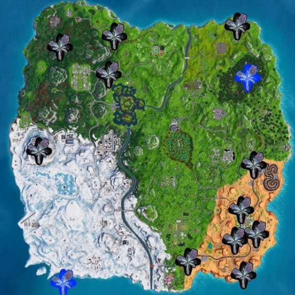 Positions des failles sur Fortnite