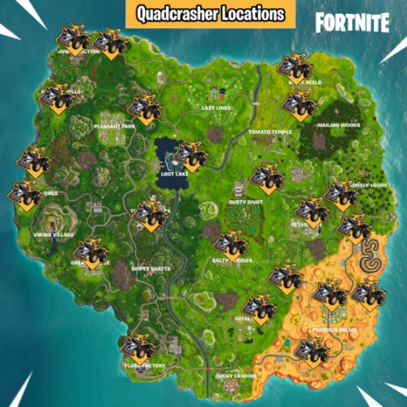 Positions des Quads à réaction sur Fortnite