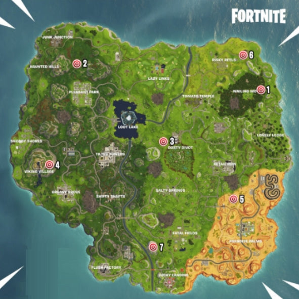 Positions des stands de tir sur Fortnite