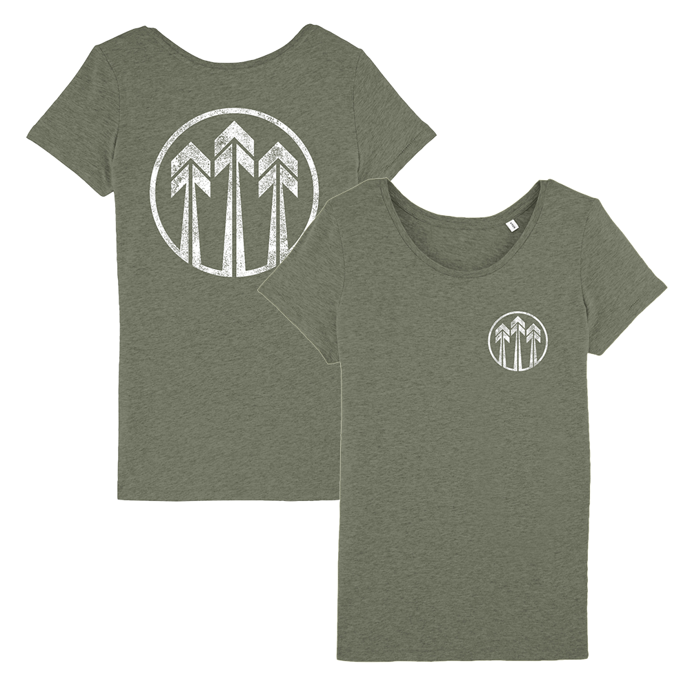 John Butler Trio 'Arrows Logo' Khaki T-Shirt - Ladies