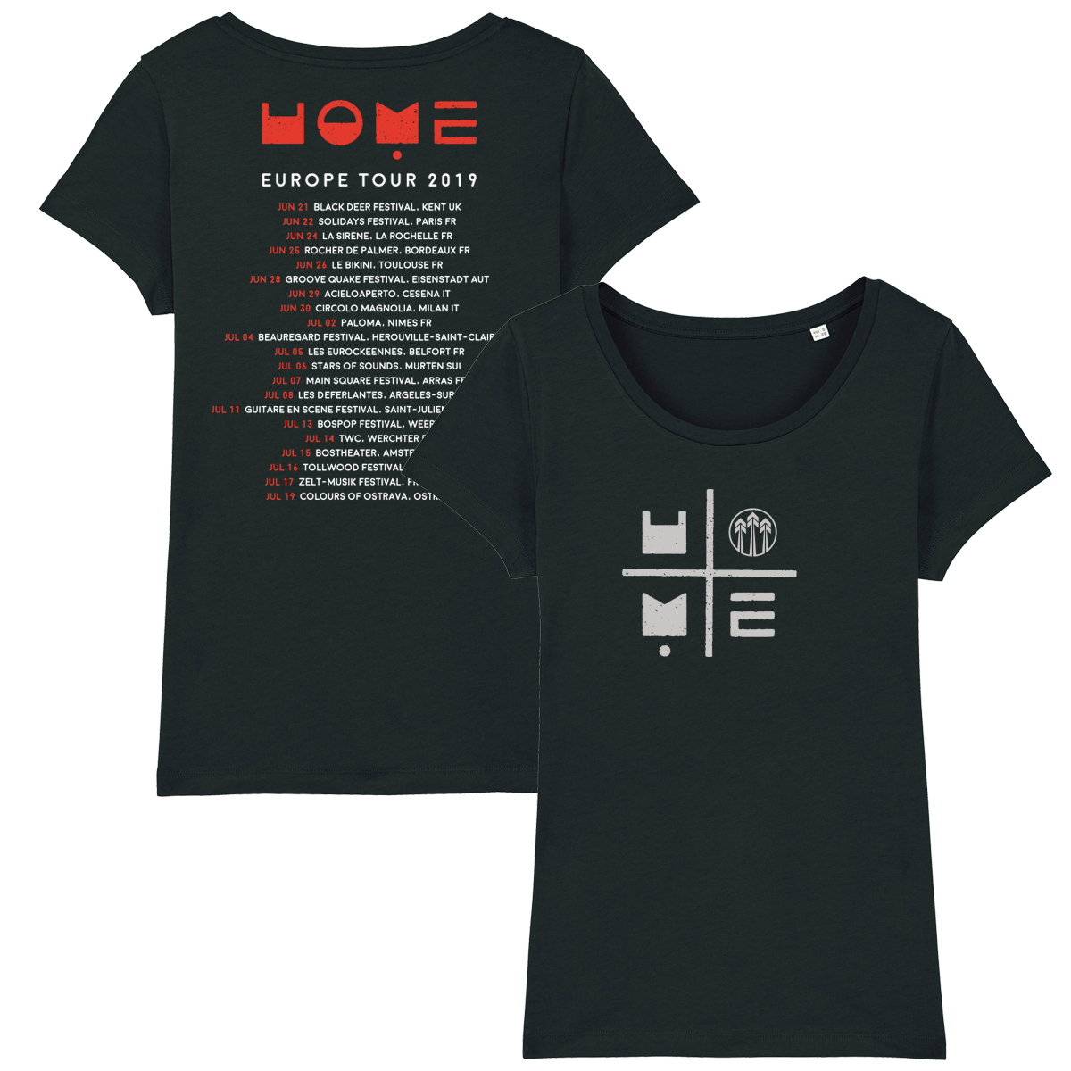 John Butler Trio 'Home Tour 2019' Black T-Shirt - Ladies