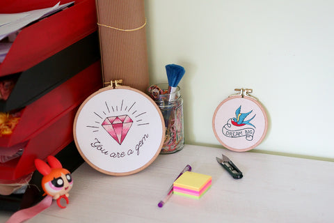 gem pattern embroidery hoop