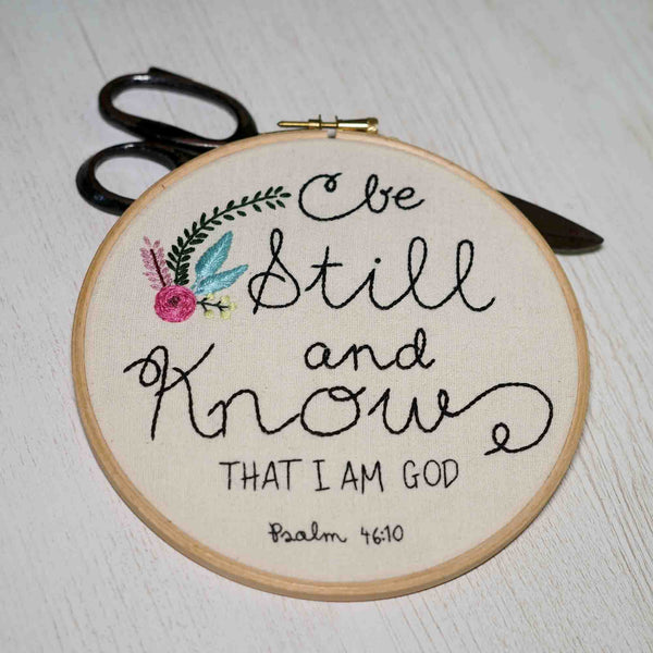 Bible Verse Floral Embroidered Hoop Art - Be Still And Know - Redwork Stitches