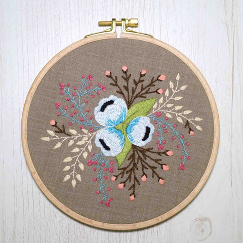 Flower Handmade Embroidery Wall Decor - Redwork Stitches