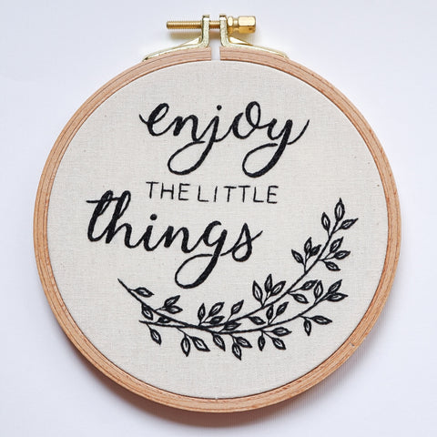 Embroidery Hoop Art - Enjoy the Little Things - Redwork Stitches
