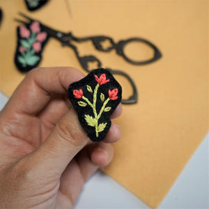 Floral Brooch - Embroidery Art - Redwork Stitches