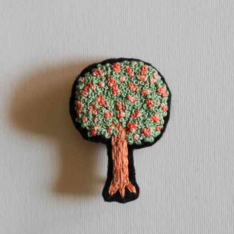 Embroidered Fabric Brooch - Tree Pin - Redwork Stitches