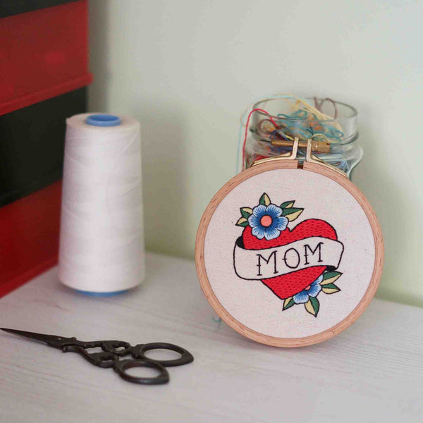 Embroidered Name Sign - Inspired with Old School Tattoo Design - Redwork Stitches