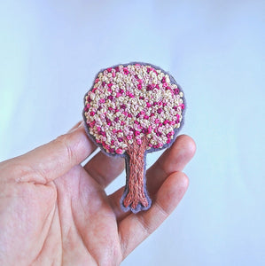 Floral Embroidery - Tree Brooch - Redwork Stitches