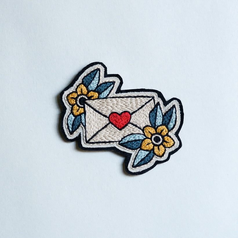 The Letter With a Heart Embroidery Patch - Redwork Stitches