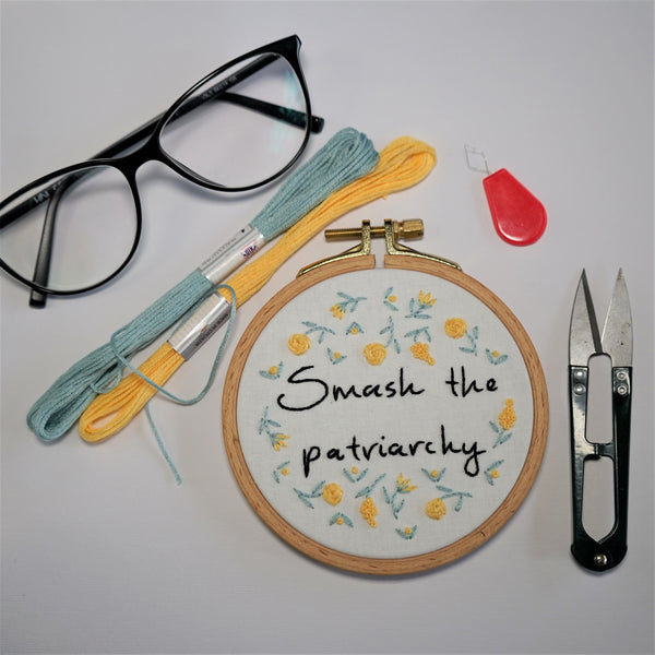 Yellow Flower Embroidery Art - - Smash The Patriarchy - Redwork Stitches