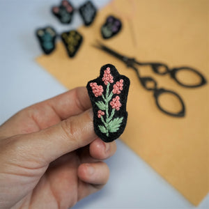 Flower Embroidery Pin - Modern Embroidery - Redwork Stitches