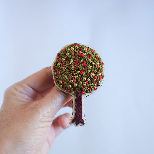 Tree Pin - Floral Brooch - Redwork Stitches