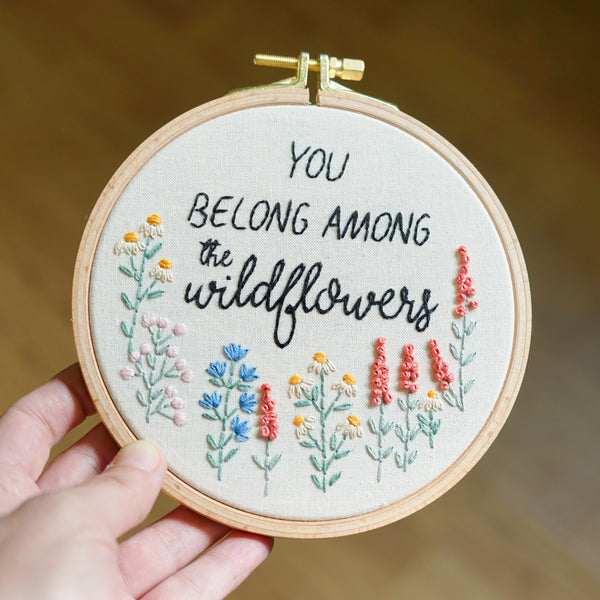 Floral Embroidery Art - You Belong Among The Wildflowers - Redwork Stitches