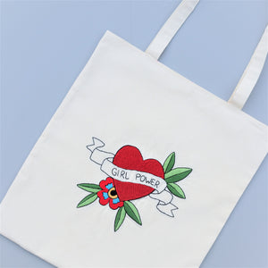 Hand Embroidered Floral Canvas Tote Bag - Girl Power - Redwork Stitches