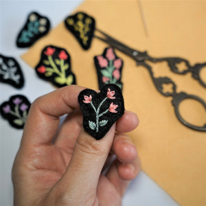 Floral Brooch - hand Embroidered Pin - Redwork Stitches