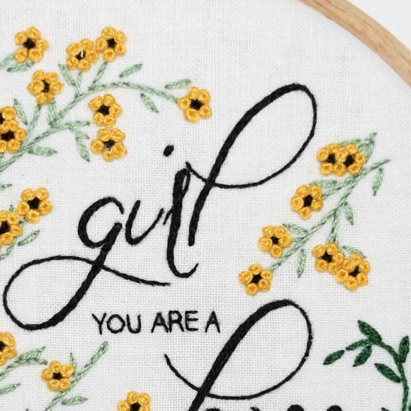 Flower Embroidery Hoop - Girl You Are a Boss - Redwork Stitches