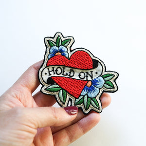 Hold On - Hand Embroidery Patch - Redwork Stitches